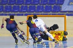 Hockey Barcelona del rodillo contra Igualada Fotos de archivo