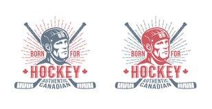 Hockey Canadees kenteken met speler en stokken royalty-vrije illustratie