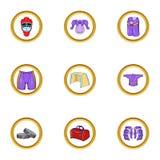 Hockey clothes icon set, cartoon style Royalty Free Stock Images