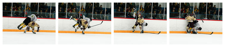 Hockey Hip Check Sequential Photos Collage Royalty Free Stock Photos