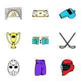 Hockey competition icons set, cartoon style Royalty Free Stock Images