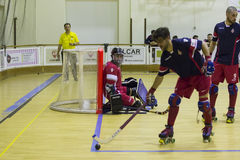 Hockey competition. Vila Praia de Ancora, Portugal - May 13, 2017: Match between ADJ Vila Praia - Gulpilhares against for the 2nd National Hockey Championship stock image