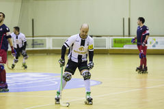 Hockey competition. Vila Praia de Ancora, Portugal - May 13, 2017: Match between ADJ Vila Praia - Gulpilhares against for the 2nd National Hockey Championship stock photography