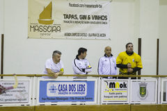 Hockey competition. Vila Praia de Ancora, Portugal - May 13, 2017: Match between ADJ Vila Praia - Gulpilhares against for the 2nd National Hockey Championship royalty free stock images