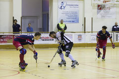 Hockey competition. Vila Praia de Ancora, Portugal - May 13, 2017: Match between ADJ Vila Praia - Gulpilhares against for the 2nd National Hockey Championship stock images