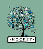 Hockey concept tree, sketch for your design Stock Photography