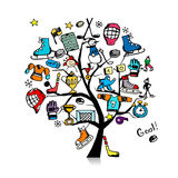 Hockey concept tree, sketch for your design Royalty Free Stock Photos