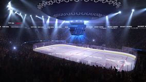 Hockey court with people fan. Sport arena. Ready to start championship. 3d render. Moving lights stock footage
