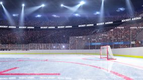 Hockey court with people fan. Sport arena. Ready to start championship. 3d render. Moving lights stock illustration