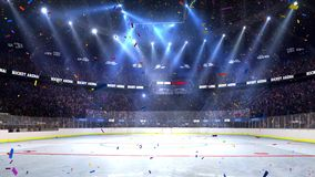 Hockey court with people fan. Sport arena. Ready to start championship. 3d render. Moving lights. Confetti and tinsel royalty free illustration