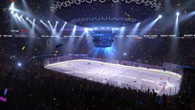 Hockey court with people fan. Sport arena. Ready to start championship. 3d render. Moving lights stock video footage