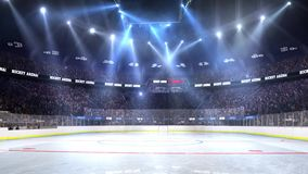 Hockey court with people fan. Sport arena. Ready to start championship. 3d render. Moving lights stock video