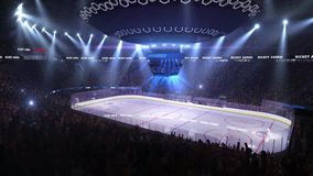 Hockey court with people fan. Sport arena. Ready to start championship. 3d render. Moving lights