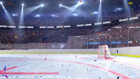 Hockey court with people fan. Sport arena. Ready to start championship. 3d render. Moving lights Confetti. And tinsel vector illustration