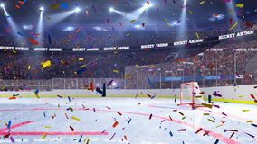 Hockey court with people fan. Sport arena. Ready to start championship. 3d render. Moving lights Confetti. And tinsel stock footage