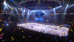 Hockey court with people fan. Sport arena. Ready to start championship. 3d render. Moving lights Confetti. And tinsel royalty free illustration