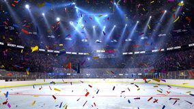 Hockey court with people fan. Sport arena. Ready to start championship. 3d render. Moving lights whith confetti. Hockey court with people fan. Sport arena. Ready stock illustration