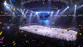 Hockey court with people fan. Sport arena. Ready to start championship. 3d render. Moving lights  whith confetti stock video footage