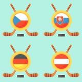 Hockey in Czech Republic, Slovakia, Germany and Austria. Universal symbol for international hockey tournament (championship, cup) in Czech Republic, Slovakia Stock Photos