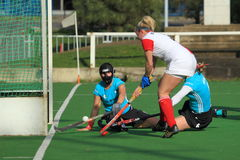 Hockey de champ de femmes Photos libres de droits
