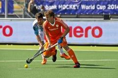 Hockey de coupe du monde les 2014 - les Pays-Bas - Argentine Images stock