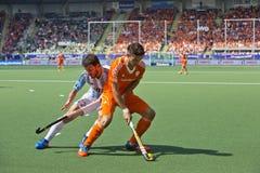Hockey de coupe du monde les 2014 - les Pays-Bas - Argentine Photos stock