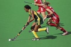 Hockey de zone des femmes photographie stock libre de droits