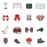 Hockey Decorative Icon Set. Hockey attribution clothes equipment and accessories skates puck and putter flat color icon set isolated vector illustration Royalty Free Stock Image