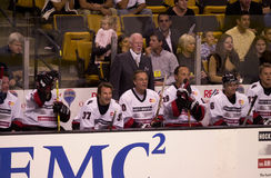 Hockey Don Cherry. Hockey legend Don Cherry behind the bench at a charity hockey game in Boston, MA.  (Image taken from color slide Stock Images