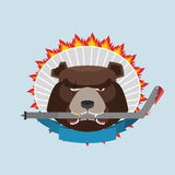 Hockey emblem. Angry bear. Vector illustration Stock Images