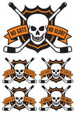Hockey emblem with skull and crossed hockey sticks. Vector hockey emblem with 5 different hockey themed slogans: No Guts No Glory.  Eat, Sleep, Hockey.  He Royalty Free Stock Photo