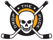 Hockey emblem with skull and crossed hockey sticks. Vector hockey emblem with skull and crossed hockey sticks over puck with the words Drop The Puck. Easy to Royalty Free Stock Photography