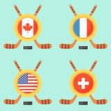 Hockey en Canadá, los E.E.U.U., Francia y Suiza Imágenes de archivo libres de regalías