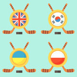 Hockey en Reino Unido, Corea del Sur, Ucrania y Polonia Imagenes de archivo