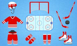 Hockey equipment collection. Vector illustration. Isolated icons for winter sports designs. Hockey puck, stick, rink vector illustration