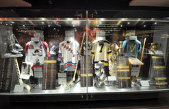Hockey exhibits. Photo was taken in Hockey Hall of Fame Museum in Toronto City, Ontario province, Canada. November 2013 Stock Image
