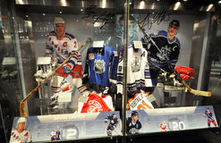 Hockey exhibits. Photo was taken in Hockey Hall of Fame Museum in Toronto City, Ontario province, Canada. November 2013 stock photography