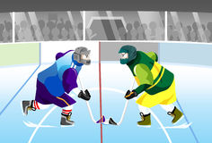 Hockey face off. Two hockey player facing off each other vector illustration