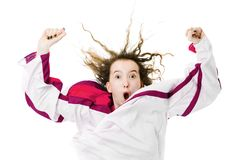 Hockey fan in jersey in national color of Latvia cheer, celebrating goal stock images