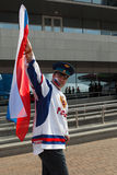 The hockey fan from Russia Stock Images