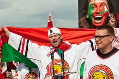 The hockey fans from Belarus Stock Photography
