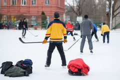 Hockey fans gathered at the stadium to play Stock Photo