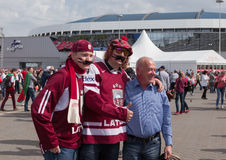 The hockey fans with a moustache from Latvia Royalty Free Stock Images