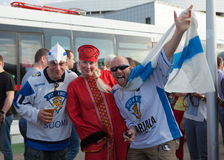 The hockey fans from Russia and Finland Stock Photo