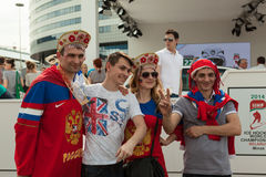 The hockey fans from Russia Stock Photography