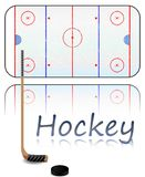 Hockey Field. Illustration of a hockey field, hockey stick and puck. Each element on separate layer Stock Photos