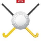 Hockey field ball and sticks. Vector. Stock Photo