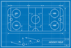 Hockey field on blueprint. Image of hockey filed on blueprint. Transparency used Stock Images