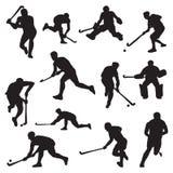 Hockey Field on Grass Athlete Silhouette Set.  vector illustration