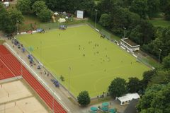 Hockey field. A hockey field with green grass from the aerial perspective royalty free stock photos